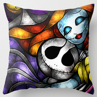 New Arrival Love Nightmare Before Christmas Jack And Sally Printing Square Pillowcase