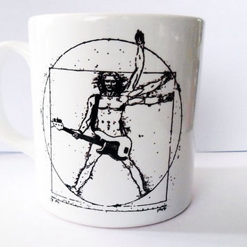 White & Black Vitruvian Man, Guitar, Music, Leonardo Davinci, Renaissance, Coffee Cup, Tea Cup, Unique Mug, Art Cup, Rock and Roll Mug, Gift