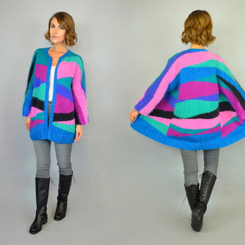 vtg 80s NEON ABSTRACT geometric oversized fuzzy MOHAIR collarless cardigan sweater, extra small-large