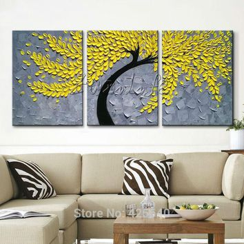 3 Pieces Panel Wall Art Palette Knife Hand Painted Yellow Flower Oil painting