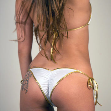 Sexy Bikini Swimwear White & Gold Bikini Top and Micro Scrunch Back Bikini Bottoms