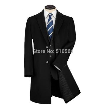 Custom made Classics Slim fit two button men cashmere coat Black Formal middle longer jacket