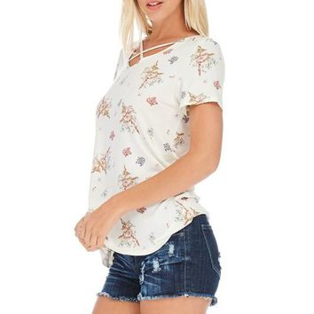 Ivory Criss-Cross Floral V-Neck Boutique Fashion Tee!
