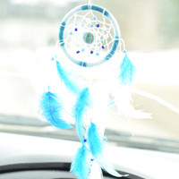 Rear View Mirror, Car Dream Catcher, Blue and White Dream catcher, Car Charm, Gift for men, Mini Dream catcher