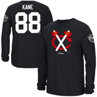 Mens Chicago Blackhawks Patrick Kane Reebok Black 2015 NHL Winter Classic Name & Number Long Sleeve T-Shirt