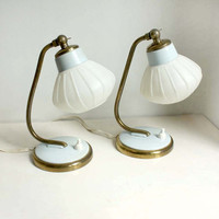 Pair of Vintage Midcentury Table Lamps. White, Light Blue and Golden. Minimalist Design.  Mad Men Style
