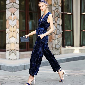 New Arrival Spring Summer Women's Sexy V Neck Sleeveless Fashion Long Velour Fashion Jumpsuits&Rompers with Sash Belt