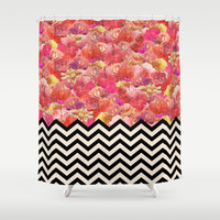 Chevron Flora Shower Curtain by Bianca Green