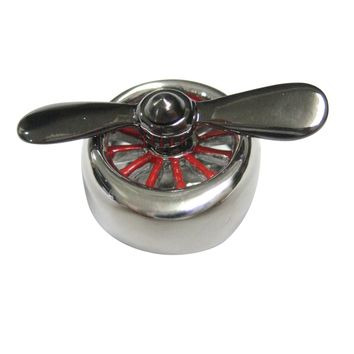 Black and Silver Toned Plane Propeller Magnet