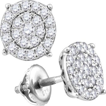 14kt White Gold Womens Round Diamond Cindy's Dream Cluster Earrings 1-3/8 Cttw