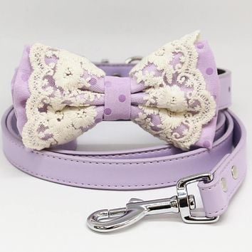 Dog Bow Tie collar and Leash, Lilac Bow tie collar leash, Handmade Dog collar wedding, Lace