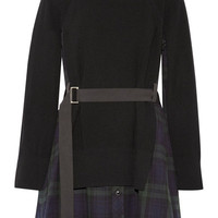 Sacai - Grosgrain-trimmed wool-flannel and and ribbed cotton dress