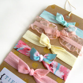 Easter Hair Ties Set, Spring Hair Ties, FOE, Elastic Hair Ties, Small Girl Gift, Bright Hair ties, Preppy Elastic Hair Ties
