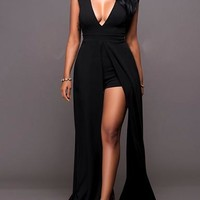 Women's Maxi Dress/Romper - Front Slit
