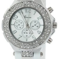 Geneva Women's Silicone Designer Watch with Baguette Stones Bezel