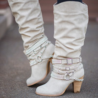 Cream Diamonds & Studs Boots