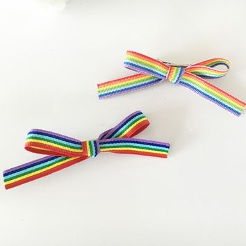 Cute Barrettes Rainbow LGBT Bow Knot Ribbon Hair Clip Bows For Girl Women Hairpins Hair Accessories Gay Pride Lover Jewelry