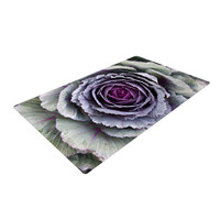 "Susan Sanders ""Flower Love"" Purple Green Woven Area Rug"