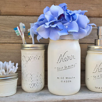Country Bathroom Decor-Mason Jar Bathroom Set-Rustic Bathroom Decor-Shabby Chic Bathroom Decor-Beach Bathroom Decor-Housewarming-Wedding
