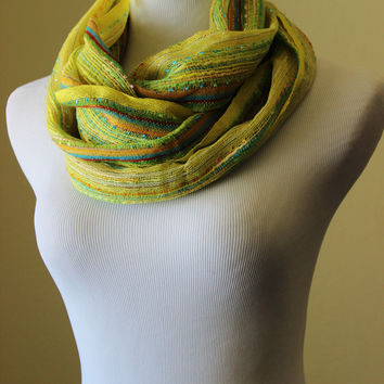 Yellow scarf, metallic thread lightweight woven tassel summer scarf