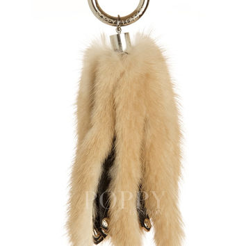 Mink Fur Keyring Cream