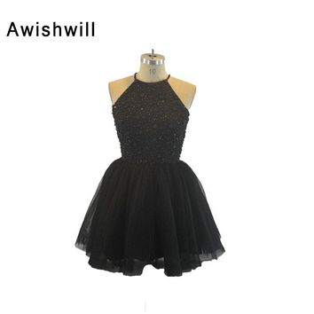 Little Black Dress Sexy Sleeveless Beadings Satin and Tulle Short Evening Party Dress 2018 Open Back Short Prom Dresses