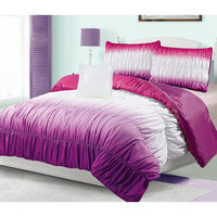 Hadley Ruched 4-Piece Comforter Set | Overstock.com Shopping - The Best Deals on Teen Comforter Sets
