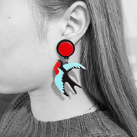 2016 new design Cute Animal Bird Jewelry Flying Origami Swallow Post Stud Earrings for Women