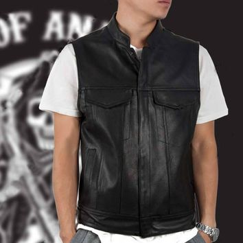 Men's Rock Waistcoat Sons Of Anarchy Black Harley Motorcycle Vest Jacket Club PU Leather Vest Stand-up Collar Punk Vest Cosplay