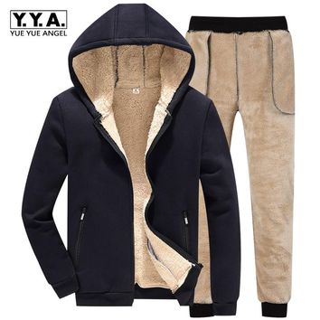 Winter Men Hooded Jackets Woolen Lining Warm Male Tracksuit Full Length Sweatpants Set Suit Casual Large Size M-4XL Sweatsuits