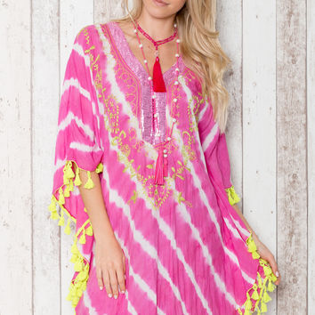 Summer Short Kaftan in Pink