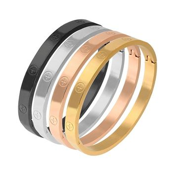 Trendy Stainless Steel Luxury Brand Bangle Bracelet With Cross Screw For Woman Man Rose Gold Color Wristband Bangles Gift