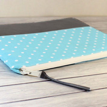 Womens Macbook Air 13 inch Padded Case Retina Macbook Pro 13 Case Foam Padded Handmade Zippered Leather Case Polka Dots in Aqua Blue
