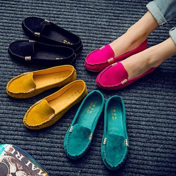 New women's candy color shoes Spring autumn cute slip on low heel ladies shoes boat sh