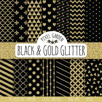 SALE - 30% OFF. Black and Gold Glitter Digital Paper Pack. Quatrefoil Scrapbooking Paper. Polka Dot, Chevron. Black Glitter Digital Paper.