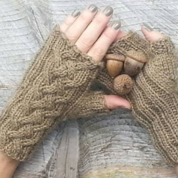 Outlander inspired Celtic Cable fingerless gloves Choose your color and pattern, made to order COUPON AVAILABLE