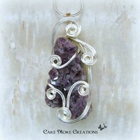 Amethyst Crystal Wire Wrapped Pendant - Purple Necklace in Silver Wire