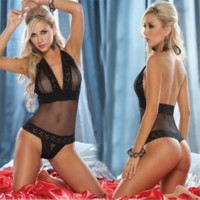 Fashion Sexy lingerie conjoined  black lace