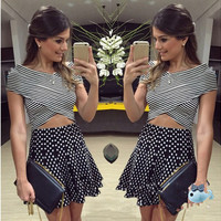 2015 New Fashion Women Clothing Summer Cute Dress Sexy Striped Printed Dot Patchwork 2pcs Women Casual Dress Slim Party Dresses