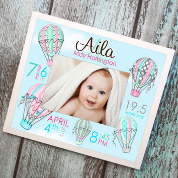 Hot Air Balloon, Pink, Aqua, Gray Personalized Birth Information FRAMED Mat - Great Baby Shower Gift PM0004