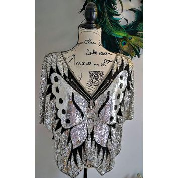 Women's Vintage Sequin Butterfly Top