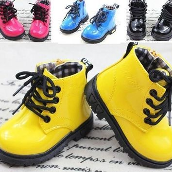 fashion children shoes PU leather boys girl's martin boots kids snow boots Spring fall
