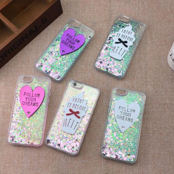 Liquid sand Love heart and ice cream mobile phone case for iphone 5 5s SE 6 6s 6plus 6s plus + Nice gift box!