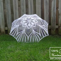 "48"" IVORY or WHITE Lace Crochet Flower UMBRELLA Parasol Sunbrella, Summer Wedding, Party Favor- Ready to Ship"