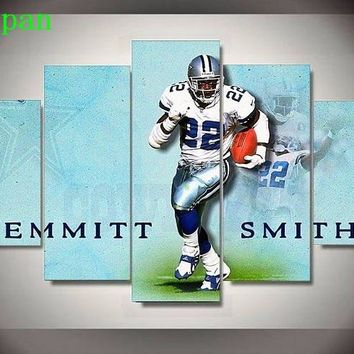 AtFipan 5 Pcs Dallas Cowboys 22 Footballer Emmitt James Smith Sports Art Poster Oil Painting On Canvas Pictures For Living Room
