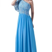 Dlass One Sleeves Lace Bodice Long Prom Dresses Blue
