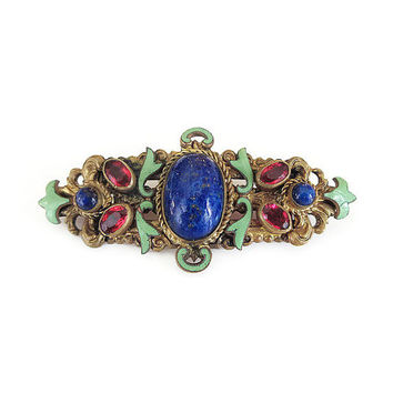 Art Deco Brooch, Czech Brooch, Austro Hungarian, Lapis Glass, Ruby Glass, Green Enamel, Gold Filigree, Art Deco Jewelry, Vintage Brooch