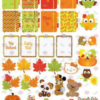 50% OFF Sale! DIY October Fall Harvest Printable Planner 31 School Holiday Stickers Sheet 6 of Kit PDF& Jpeg Erin Condren Planner Filofax