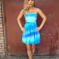 Blue Tie Dye Strapless Cutout Dress with Tie Back