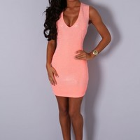 VIP Wild Nights Neon Coral Diamante Mini Dress | Pink Boutique